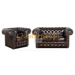 Classic 21 Antikbraun Chesterfield Garnitur