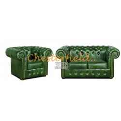 Classic 21 Antikgruen Chesterfield Garnitur