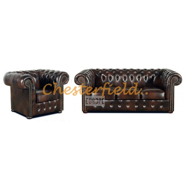 Classic 31 Antikbraun Chesterfield Garnitur