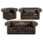 Classic 321 Antikbraun Chesterfield Garnitur