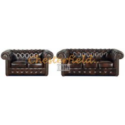 Classic 32 Antikbraun Chesterfield Garnitur