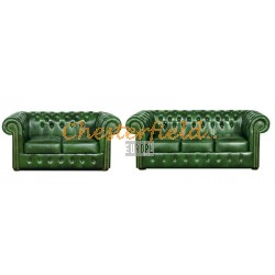 Classic 32 Antikgruen Chesterfield Garnitur