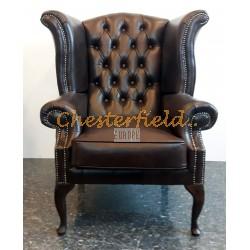 Queen Antikbraun (A5 Dunkel) Chesterfield Ohrensessel