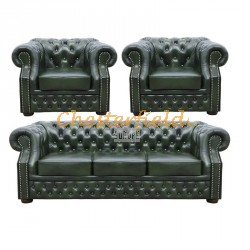 Windsor 311 Antikgruen Chesterfield Garnitur