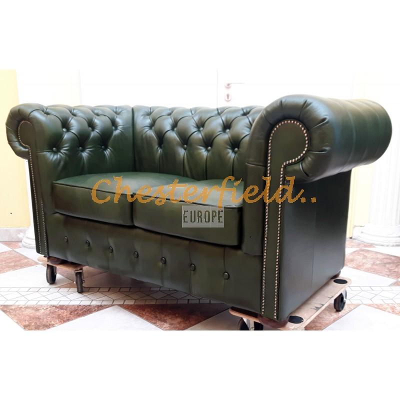 Classic XL Antikgruen 2-Sitzer Chesterfield Sofa