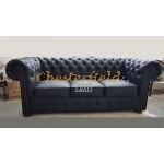 Classic Schwarz 3-Sitzer Chesterfield Sofa