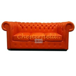 Classic XL Orange 3-Sitzer Chesterfield Sofa