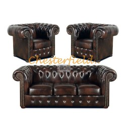 Classic 311 Antikbraun Chesterfield Garnitur