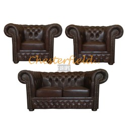 Lord 211 Antikbraun Chesterfield Garnitur
