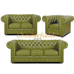 Mark 321 Olive Chesterfield Garnitur