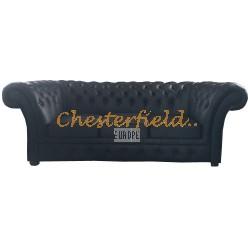 Windchester Schwarz 3-Sitzer Chesterfield Sofa