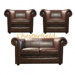 London 211 Antikbraun Chesterfield Garnitur
